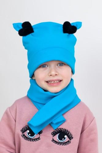 Mėlyna kepurytė + šalikėlis