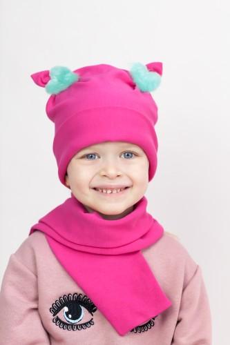Rožinė kepurytė + šalikėlis